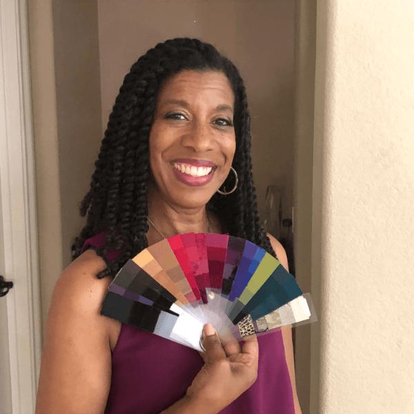black woman with color fan fashion design cdi